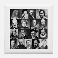 French Lit Faces Tile Coaster
