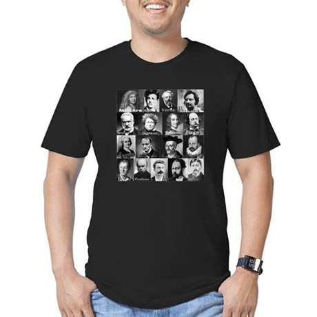 French Lit Faces Men's Fitted T-Shirt (dark)