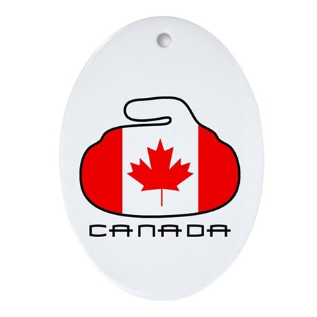 Canada Curling Ornament (Oval)