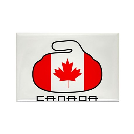 Canada Curling Rectangle Magnet (100 pack)