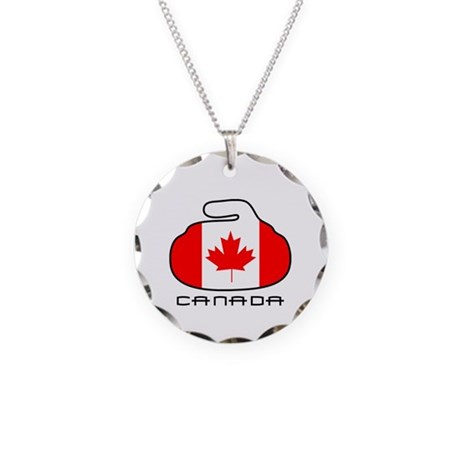 Canada Curling Necklace Circle Charm