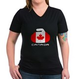 Curling Womens V-Neck T-shirts (Dark)