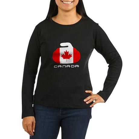 Canada Curling Women's Long Sleeve Dark T-Shirt