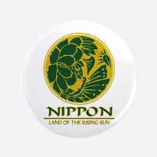 """Nippon Butterfly (green)"" 3.5"" Button"