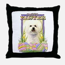 Easter Egg Cookies - Bichon Throw Pillow