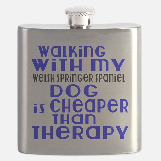 Walking With My Welsh Springer Spaniel Dog Flask