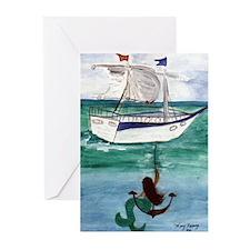 Anchor Mermaid Greeting Cards (Pk of 10)