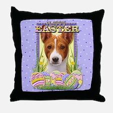 Easter Egg Cookies - Basenji Throw Pillow