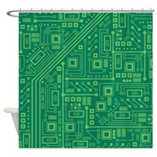 Green Circuit Board Shower Curtain