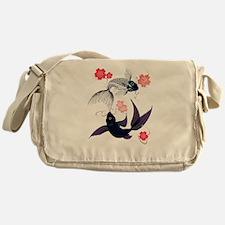 Yin and Yang Koi and Cherry B Messenger Bag