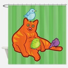 Fat Cat and Birds Shower Curtain