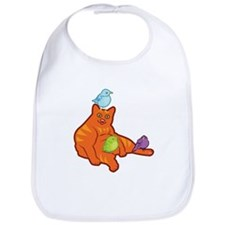 Fat Cat and Birds Bib
