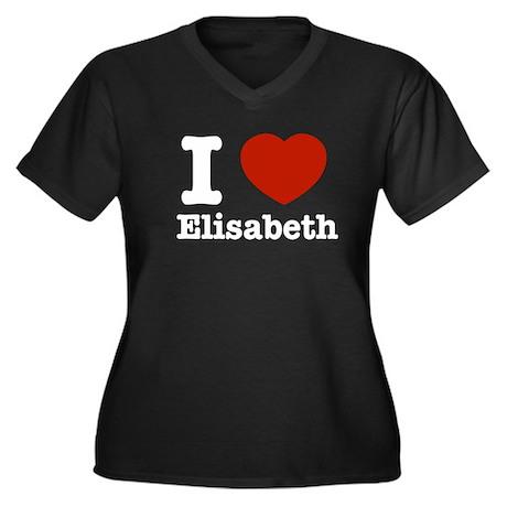 I love Elisabeth Women's Plus Size V-Neck Dark T-S