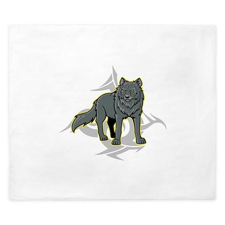 Gray Wolf Design. King Duvet