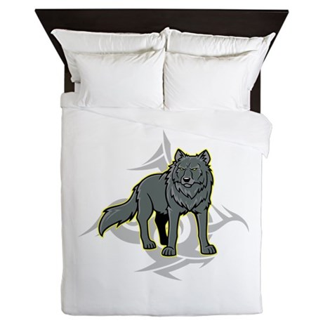 Gray Wolf Design. Queen Duvet