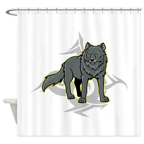 Gray Wolf Design. Shower Curtain