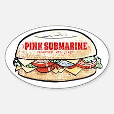 Pink Submarine Sticker (Oval)