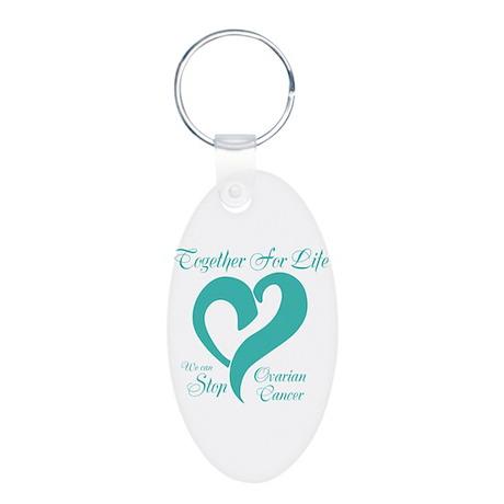 Personalizable Ovarian Cancer Aluminum Oval Keycha