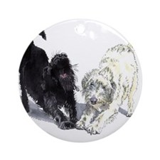 Stretching Labradoodles Ornament (Round)