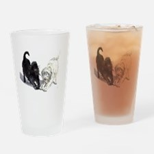 Stretching Labradoodles Drinking Glass