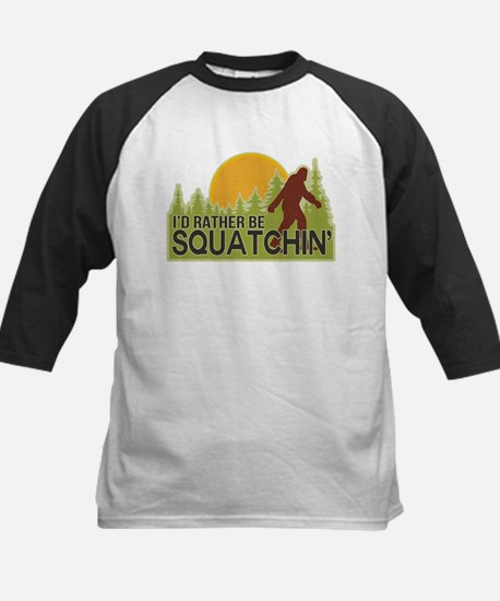 I'd Rather Be Squatchin Kids Baseball Jersey