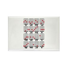 Uke Chord Cheat White Rectangle Magnet