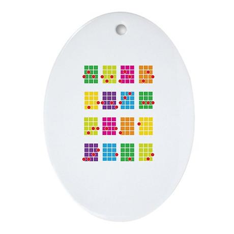 Uke Chords Colourful Ornament (Oval)