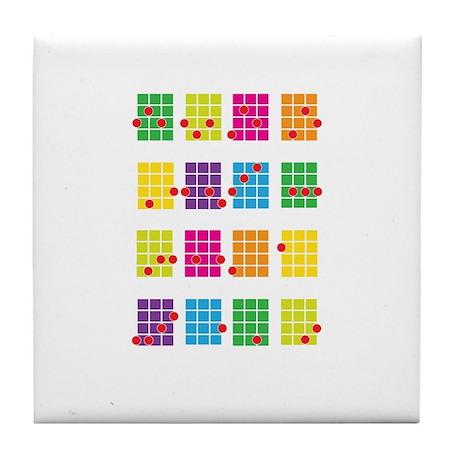 Uke Chords Colourful Tile Coaster