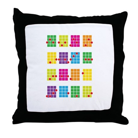 Uke Chords Colourful Throw Pillow