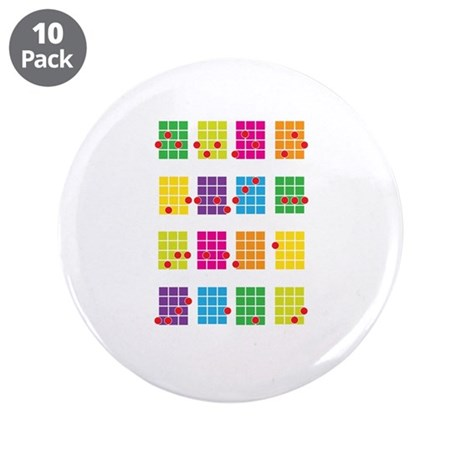 """Uke Chords Colourful 3.5"""" Button (10 pack)"""
