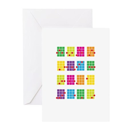 Uke Chords Colourful Greeting Cards (Pk of 10)