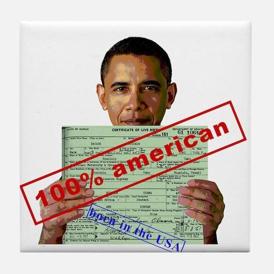 Obama 2012 D Tile Coaster