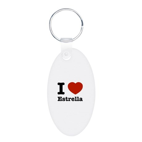 I love Estrella Aluminum Oval Keychain