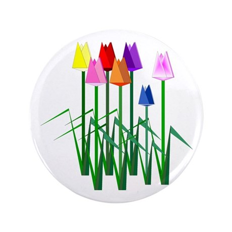 """Lots O' Tulips 3.5"""" Button"""