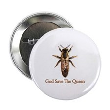 """God Save the Queen (bee) 2.25"""" Button (10 pack)"""