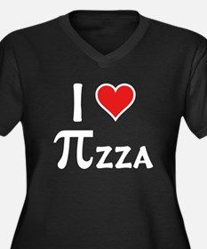 Pizza Women's Plus Size V-Neck Dark T-Shirt