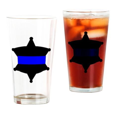 Thin Blue Line Drinking Glass