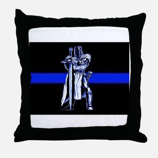 Freemason Templar Thin Blue L Throw Pillow