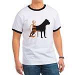 Grunge Cane Corso Silhouette Ringer T