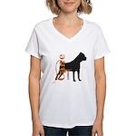 Grunge Cane Corso Silhouette Women's V-Neck T-Shir