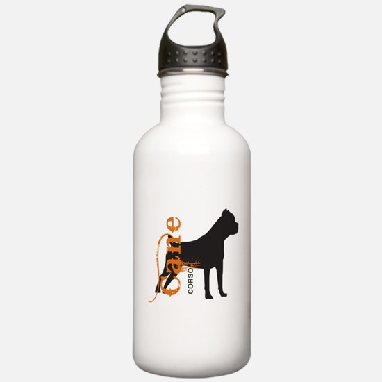 Grunge Cane Corso Silhouette Water Bottle