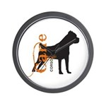 Grunge Cane Corso Silhouette Wall Clock