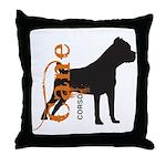 Grunge Cane Corso Silhouette Throw Pillow