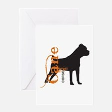Grunge Cane Corso Silhouette Greeting Card