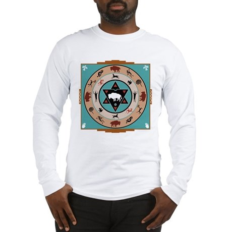 White Buffalo Medicine Wheel Long Sleeve T-Shirt
