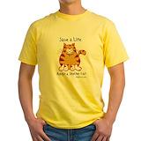 Adopt cat Mens Yellow T-shirts