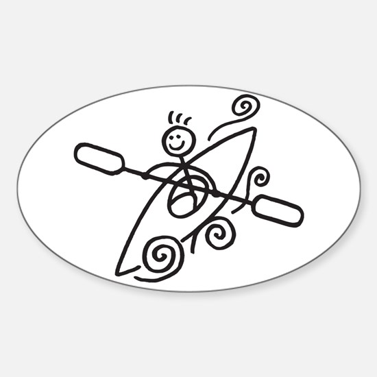 Happy Kayak Sticker (Oval)