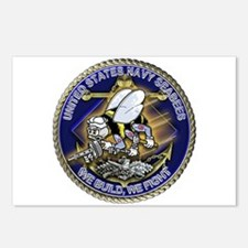 US Navy Seabees We Fight Gold Postcards (Package o