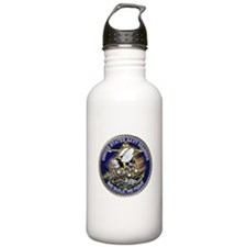 US Navy Seabees We Fight Gold Water Bottle