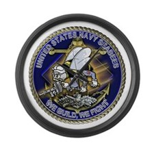 US Navy Seabees We Fight Gold Large Wall Clock